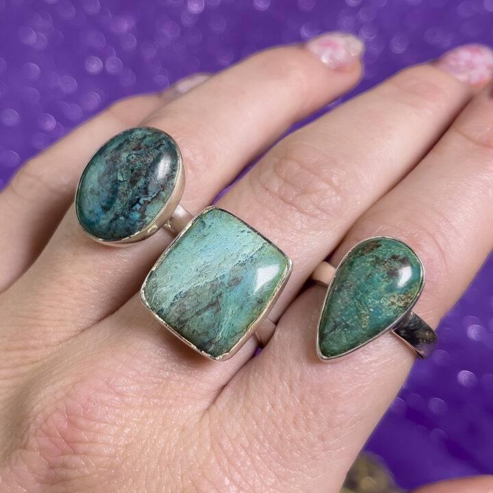 Shattuckite Adjustable Sterling Ring