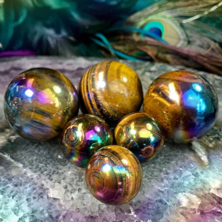 Titanium Aura Tigers Eye Strength and Strategy Spheres