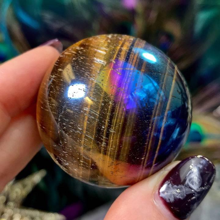 Titanium Aura Tiger's Eye Strength and Strategy Spheres