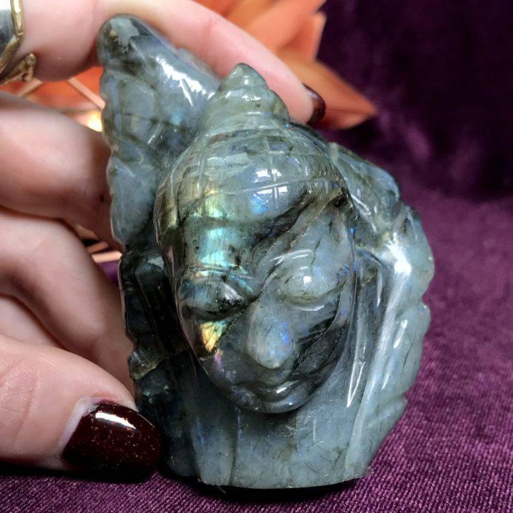 Labradorite Buddha Head with Leaf