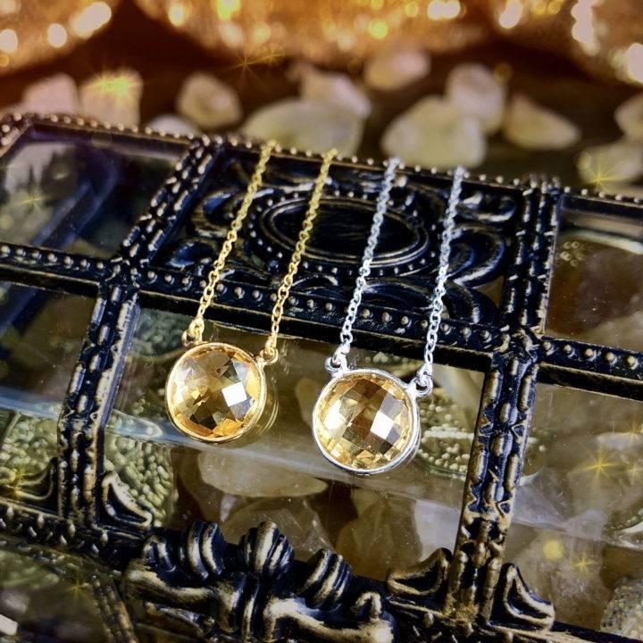 Athenas Favorite Faceted Citrine Prosperity Necklaces
