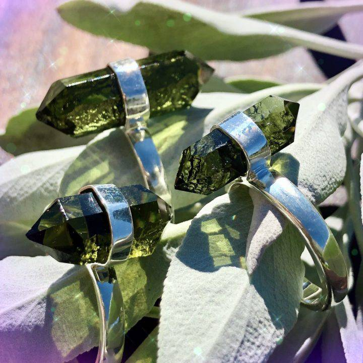 Double Terminated Moldavite Ascension Rings