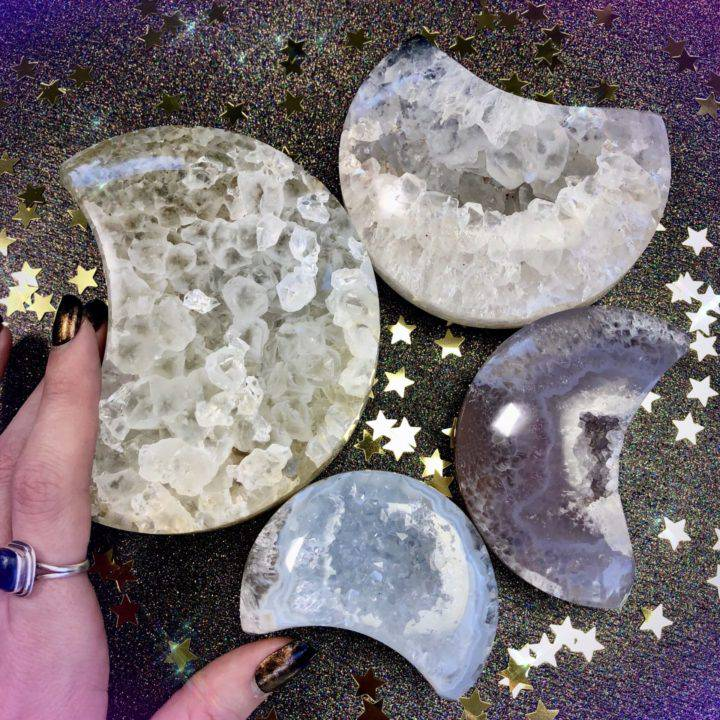 Emotional Healing Agate Geode Moons