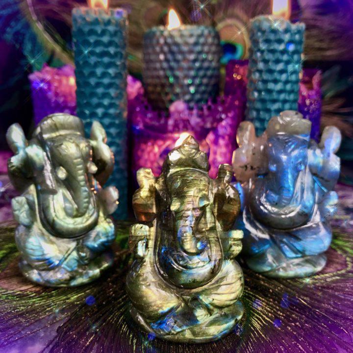 Freedom and Fortune Labradorite Ganeshas