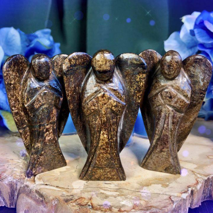 Graceful Surrender Bronzite Angels with Releasing Intention Tea Lights