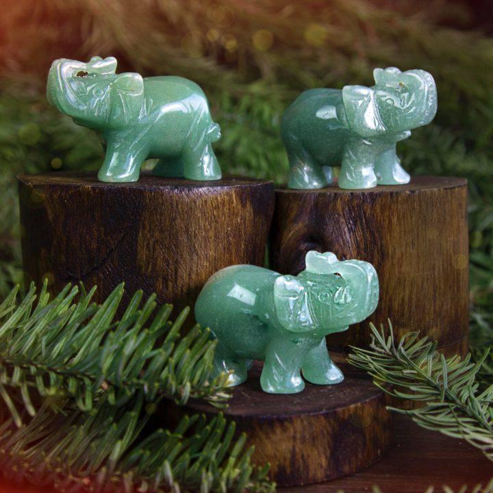 Green Aventurine Lucky Elephants