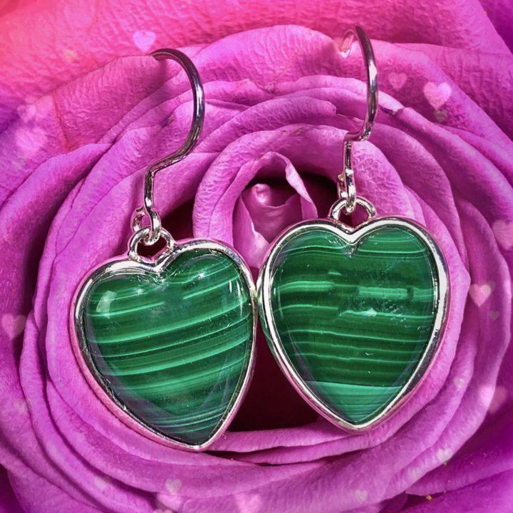 Healing Love Malachite Heart Earrings