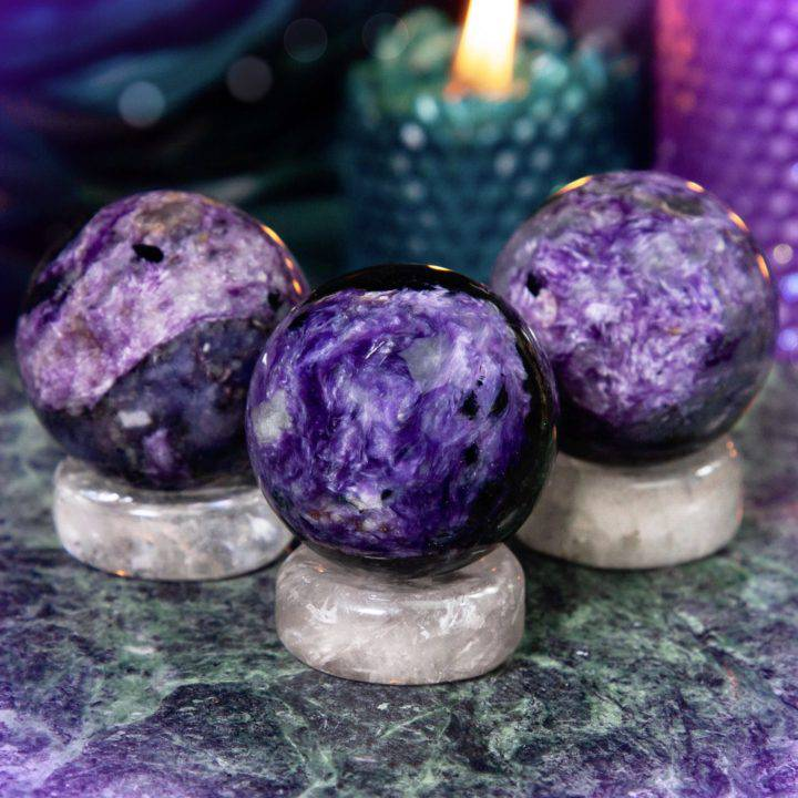Life Shifting Charoite Spheres with Clear Quartz Sphere Stand