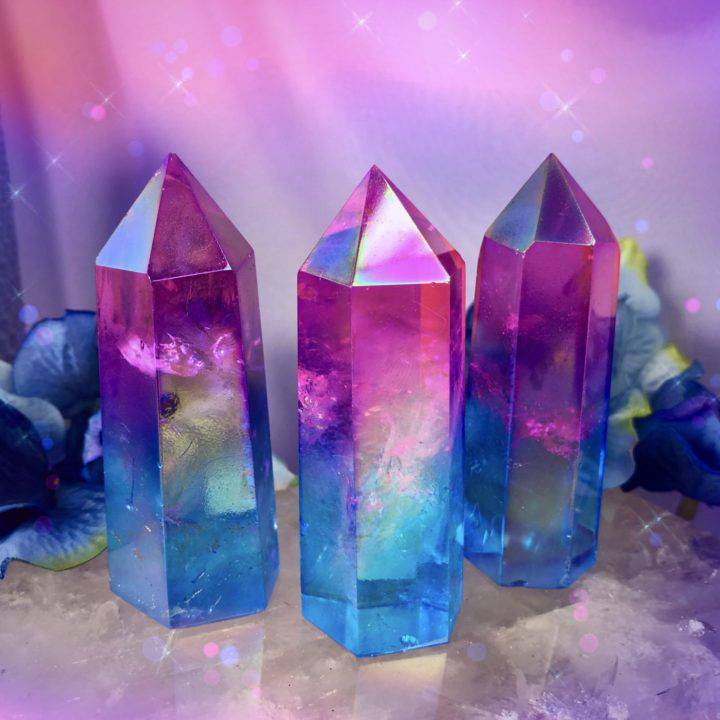 Love and Tranquility Pink and Blue Aura Quartz Generators