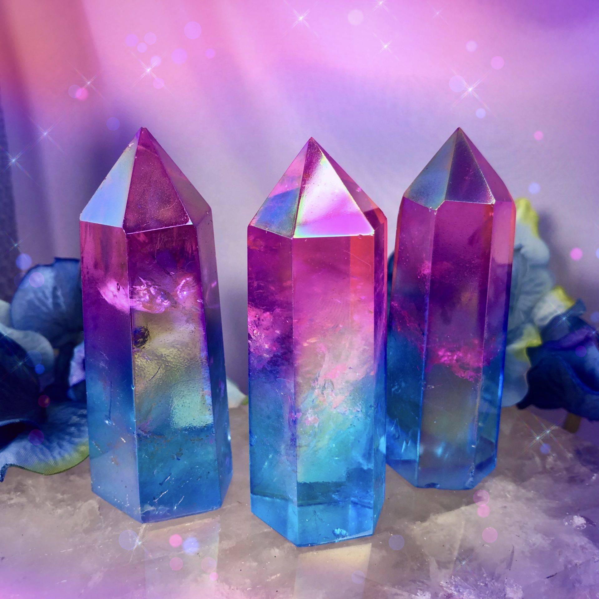 14mm Round Shape Crystal Quartz Rose Aura Quartz Blue Quartz GemMartUSA KP-10157 Aura Quartz Doublet Quartz