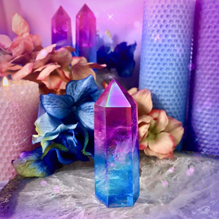 Love and Tranquility Pink and Blue Aura Quartz Generators
