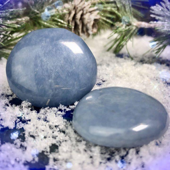 Peaceful Healer Angelite Palm Stones