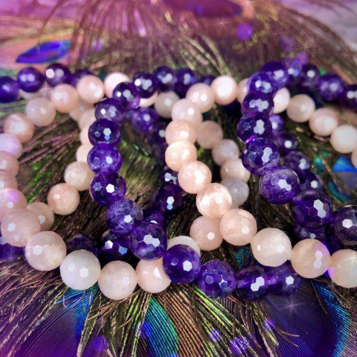 Peach Moonstone and Amethyst Stackers