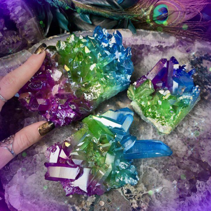 Peacock Aura Quartz Clusters