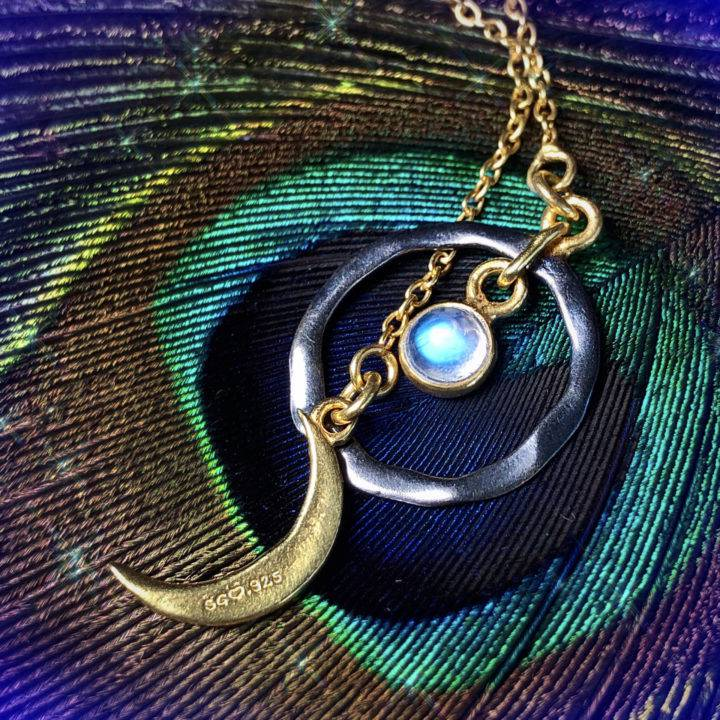 Rainbow Moonstone Lariat Moon Necklaces