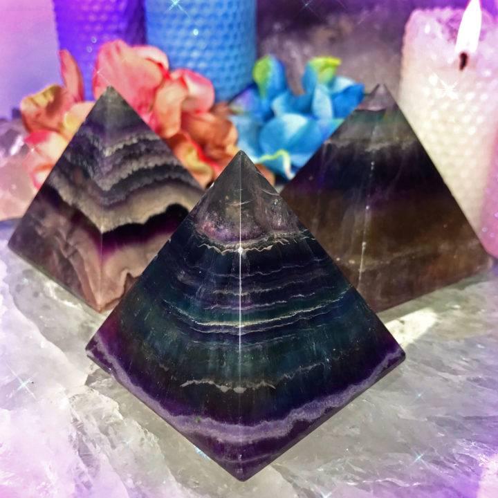 Soul Pathing Rainbow Fluorite Pyramids