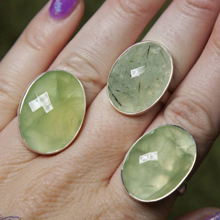 Faceted Prehnite Adjustable Ring