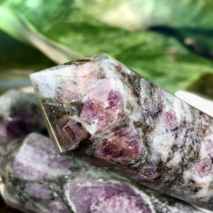 Double Terminated Ruby in Biotite and Moonstone Vogel Wands