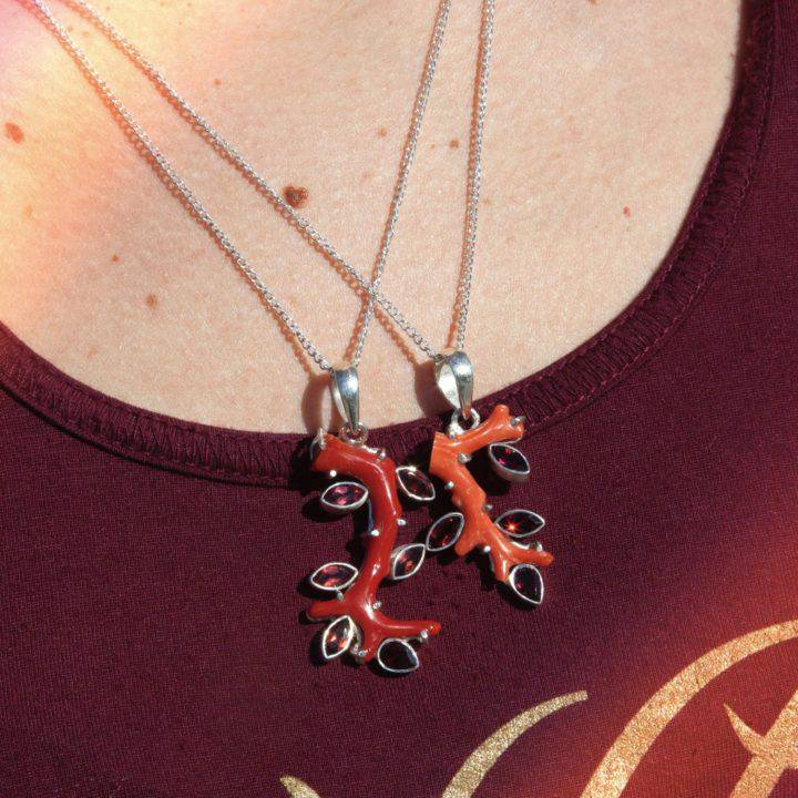 Garnet and Coral Life Force Pendants
