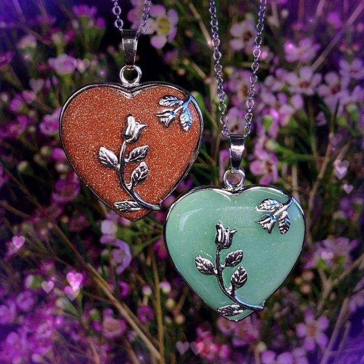 Gemstone Heart Necklaces