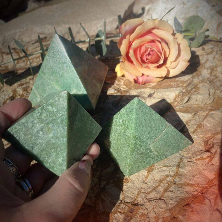Grossular Green Garnet Pyramids