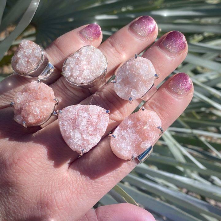 Pink Apophyllite Ascension Rings