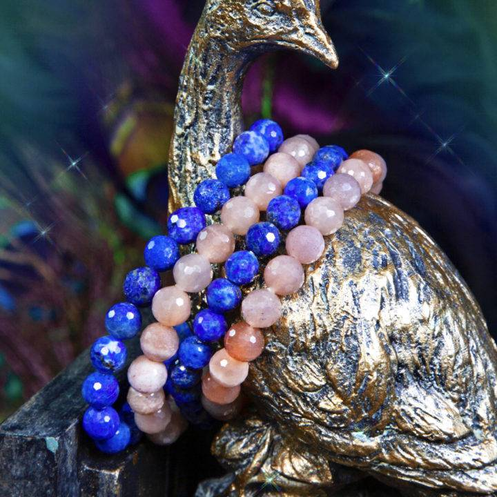 Love and Beauty Peach Moonstone and Lapis Stackers