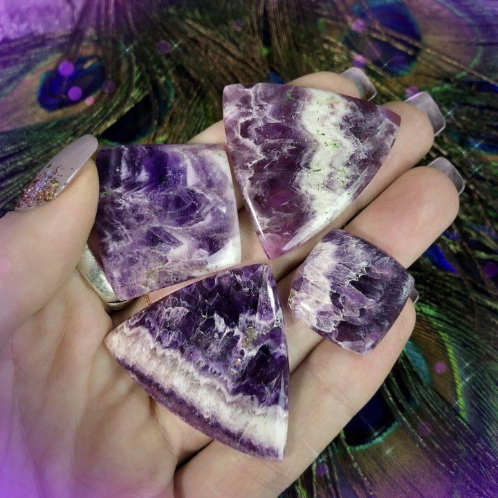 Peaceful Healing Chevron Amethyst Cabochons