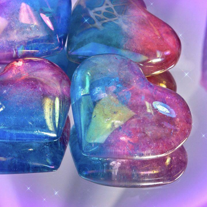 Pink and Blue Aura Quartz Hearts