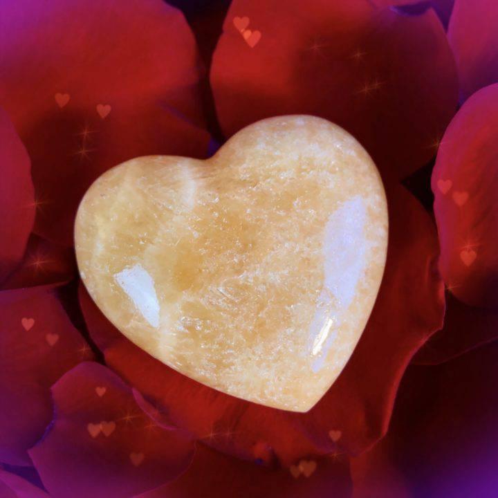 Sexy Sensual Orange Calcite Hearts