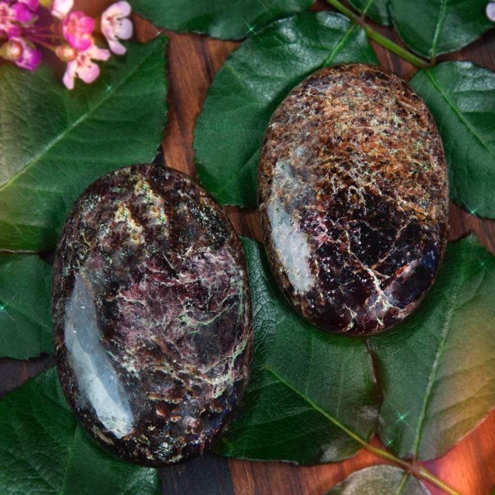Stabilizing Almandine Garnet Palm Stone Duo