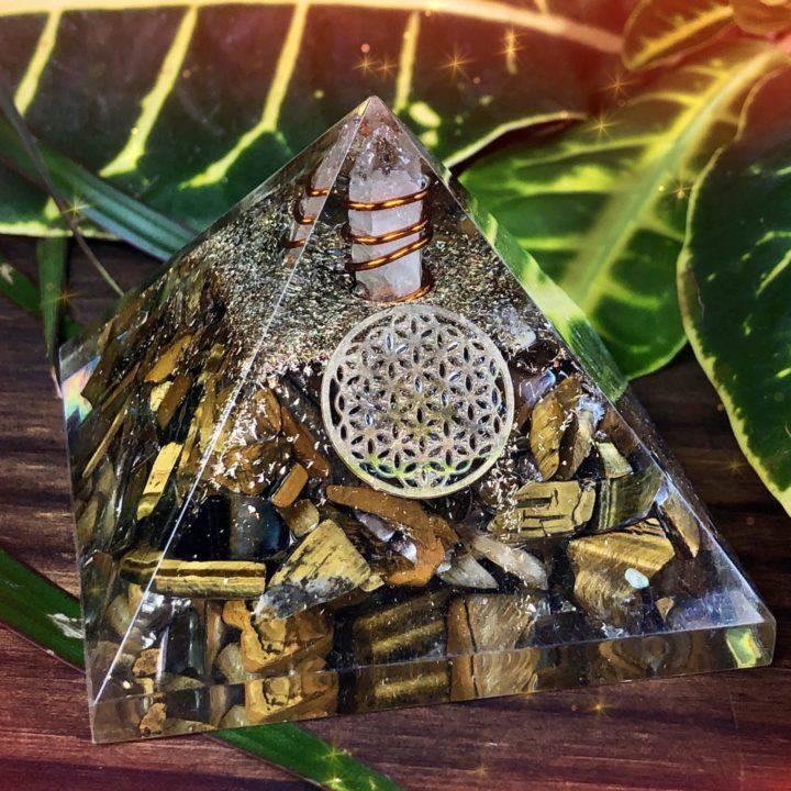 Tigers Eye Orgone Protection Pyramids