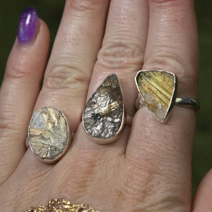 Natural Golden Rutile Rings