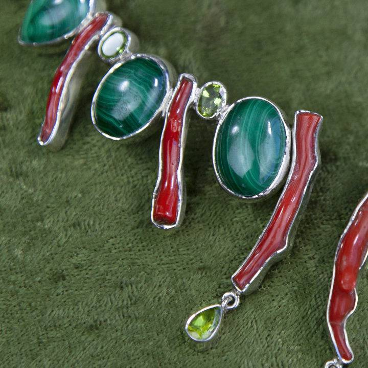 Malachite and Coral Necklaces