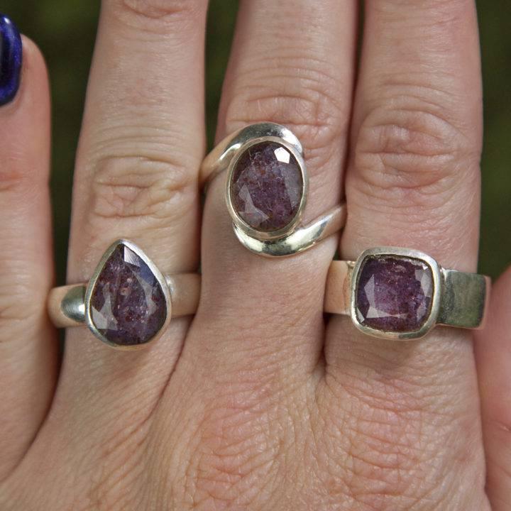 Sunstone and Iolite Rings