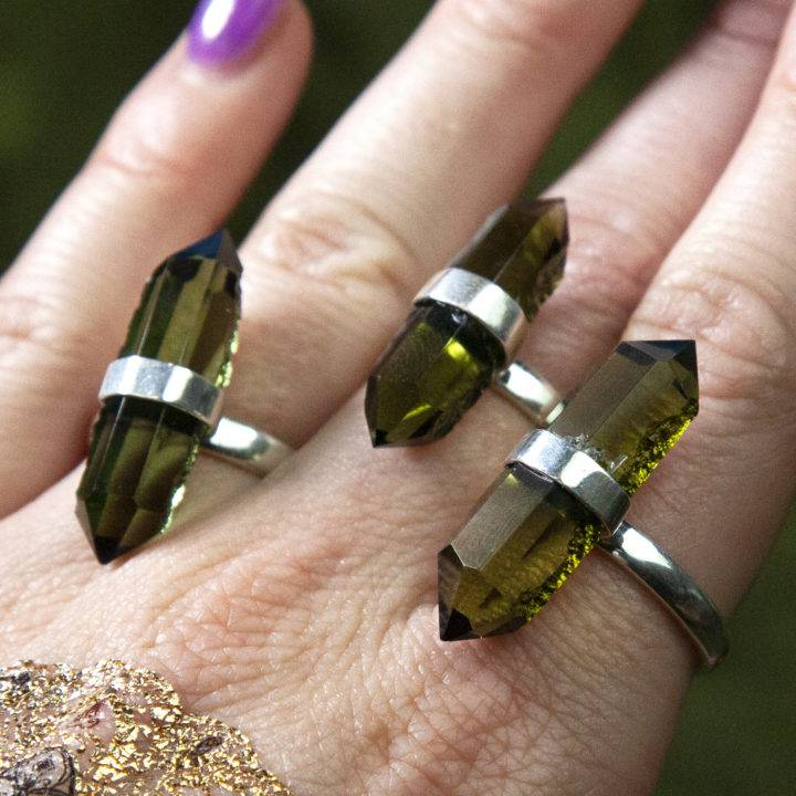 Moldavite Double-Terminated Rings