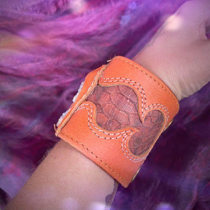 Aura Chalcedony Rose Leather Cuff