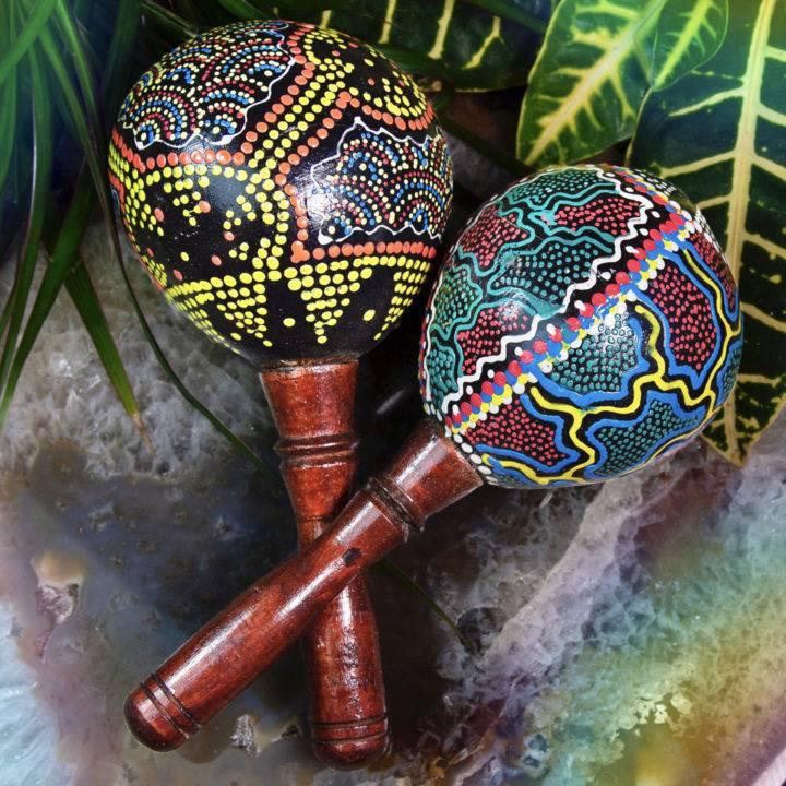Indonesian Hand-Painted Coconut Maracas