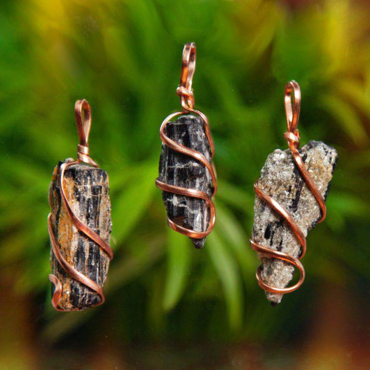 Black Tourmaline Wire Wrapped Protection Pendants