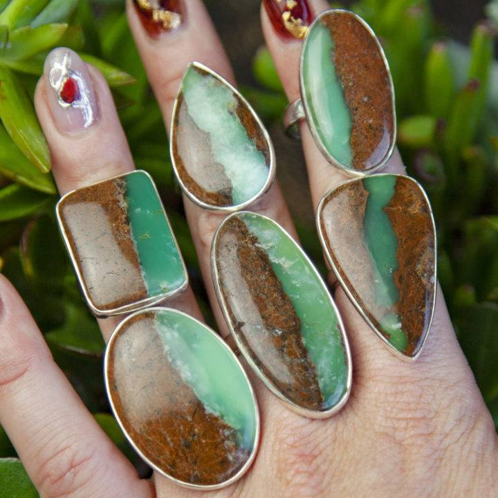 Chrysoprase Peace and Love Rings