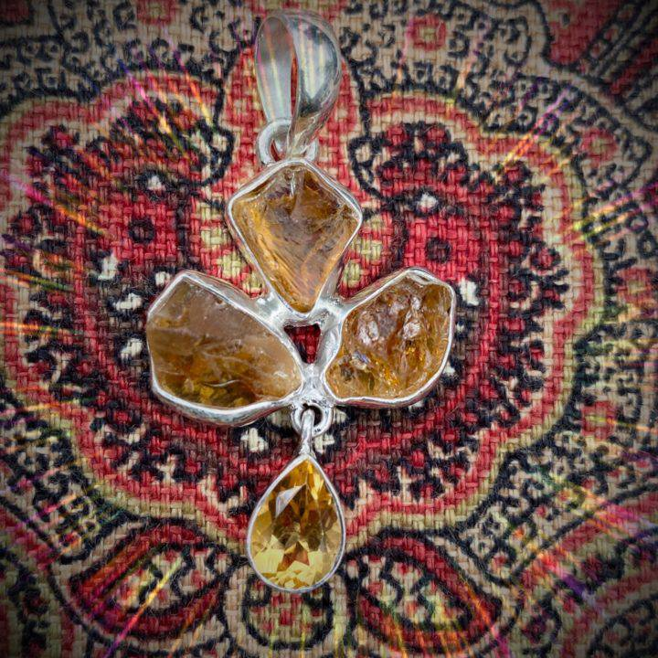 Clarity and Prosperity Sterling Silver Citrine Pendants