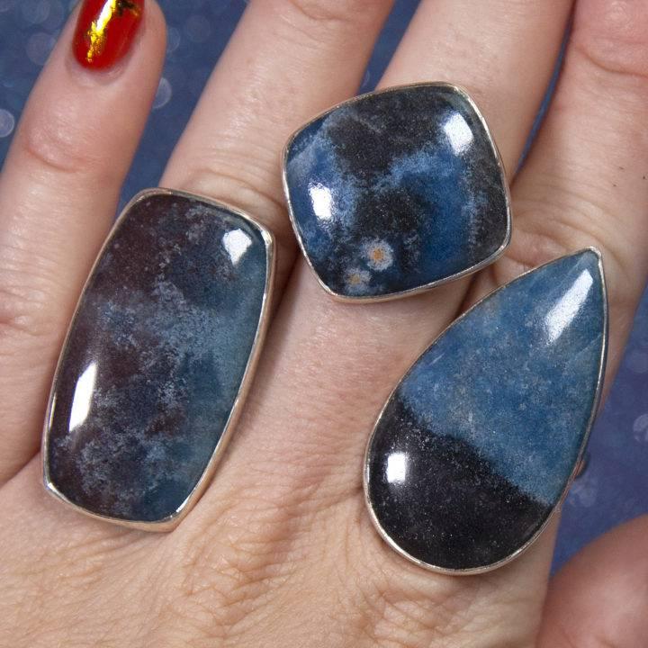 Dumortierite Sterling Silver Adjustable Rings