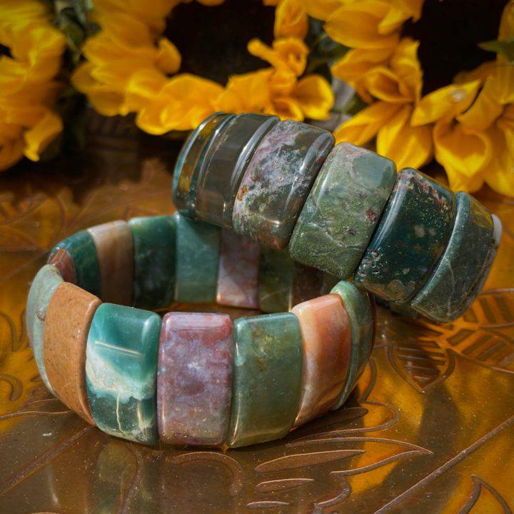 Fancy Jasper and Moss Agate Bracelets
