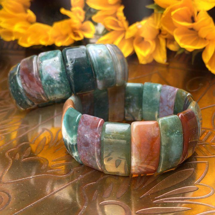 Fancy Jasper and Moss Agate Bracelets