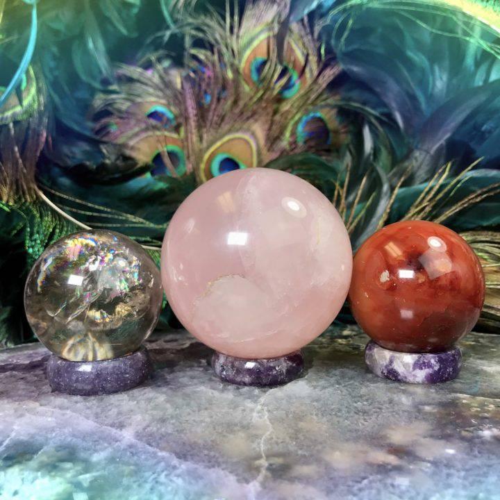Flower of Life Lepidolite Sphere Stands