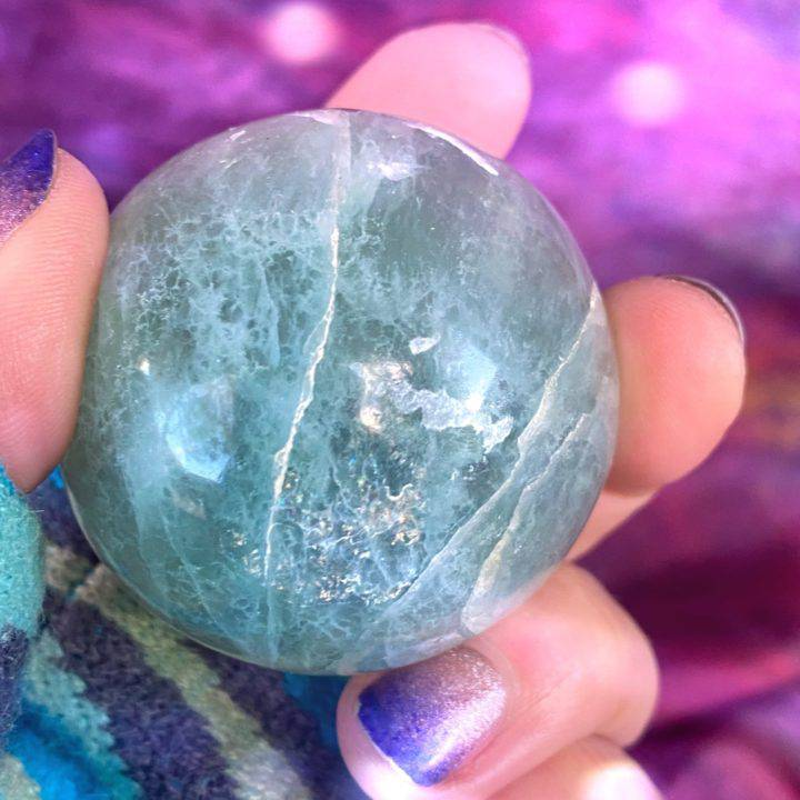 Green Fluorite Sphere with Black Tourmaline Inclusions