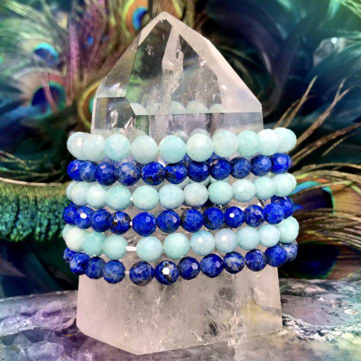 Lapis and Amazonite Priestess Bracelet Duo