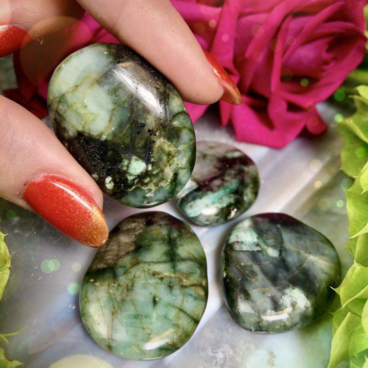 Love and Luck Emerald Palm Stones