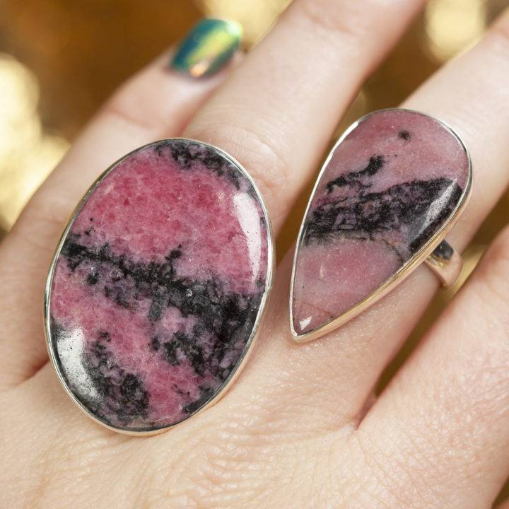 Rhodonite Sterling Silver Adjustable Ring