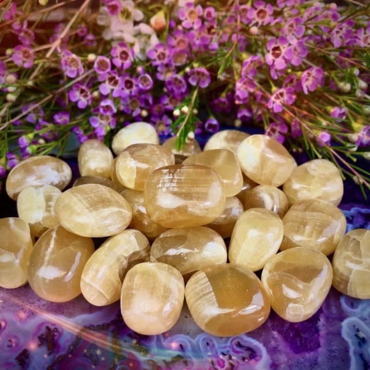 Maternal Healing Tumbled Honey Calcite